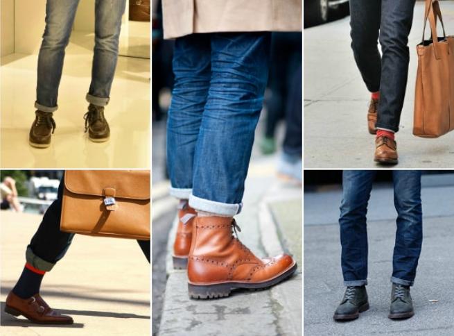 мужские джинсы подвернуть на мужчинах