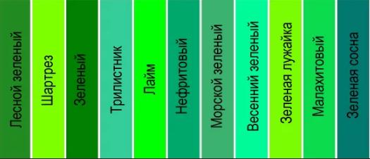 зеленый оттенки 1