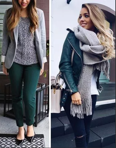 серый и темно зеленый сочетание