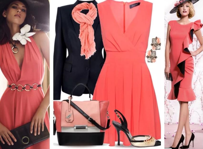 красный коралловый и черный в одежде