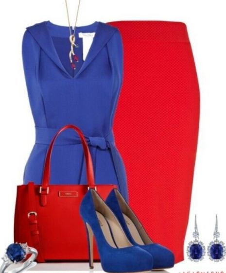 вечерний наряд синий и красный с синими туфлями
