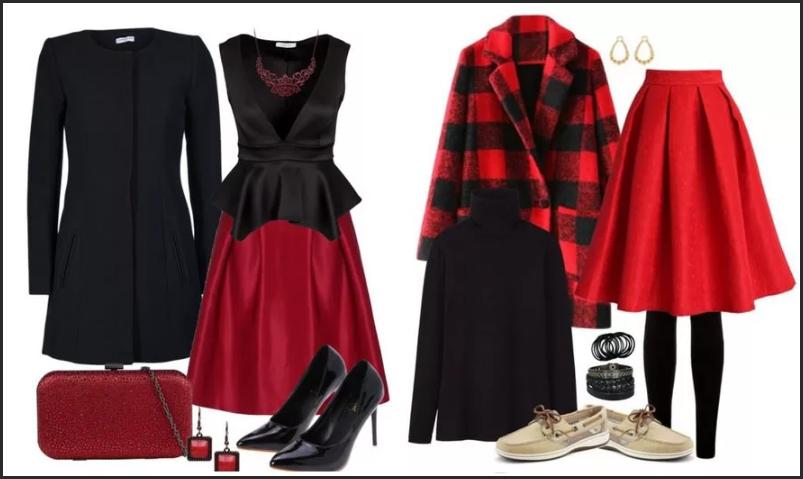 сочетание красного и черного цвета в одежде