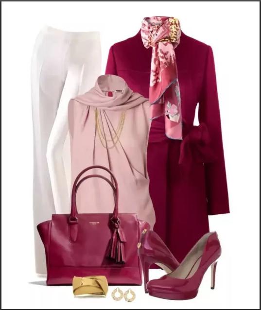 сочетание розового и бордового + туфли и сумка