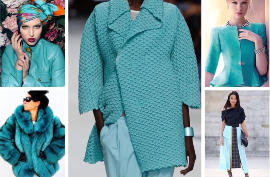 сочетание бирюзового цвета в одежде