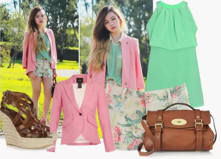 свело-зеленое платье и розовый пиджак и сумка коричневая