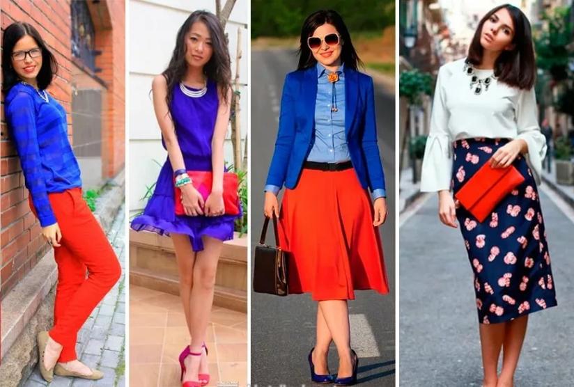 красный синий и белый в одежде сочетания
