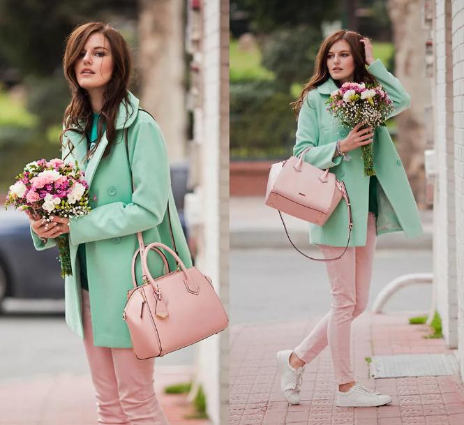мятный цвет и розовый сумка и брюки