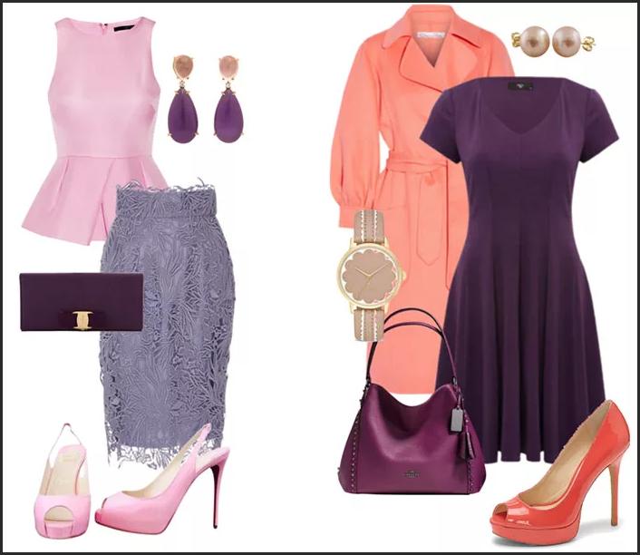 бордовое платье и розовая блузка