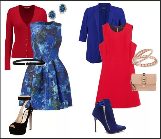 красный и синий в одежде сочетания