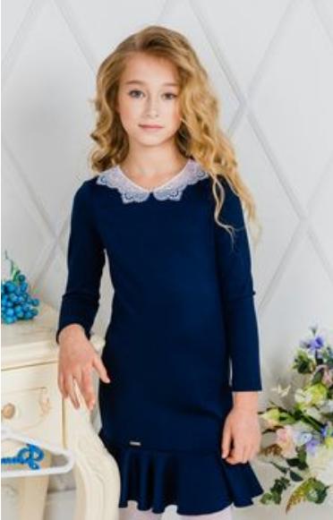надеть в школу синее платье