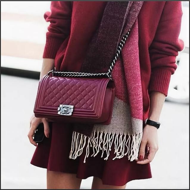 бордовая сумка юбка и кофта