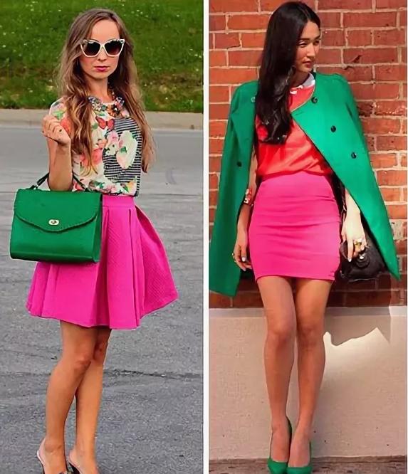 розовый и зеленый сочетание в одежде