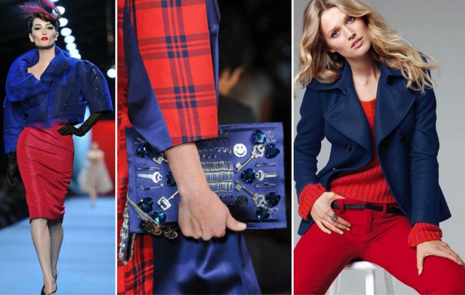 красный и синий в одежде сочетание