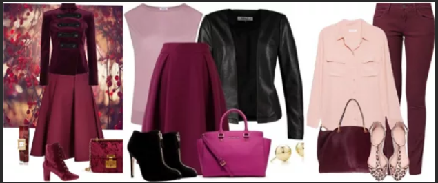 модные стильные образы луки розового и бордового цвета