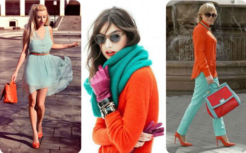 мятный цвет и оранжевый