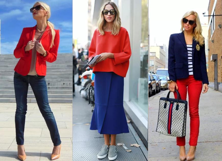сочетание красный и синий и морской стиль