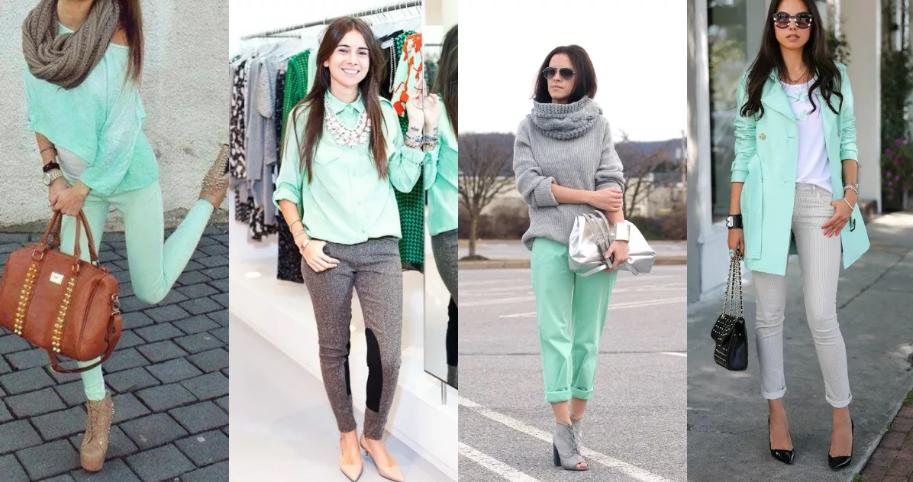 мятный цвет и серый сочетание в одежде