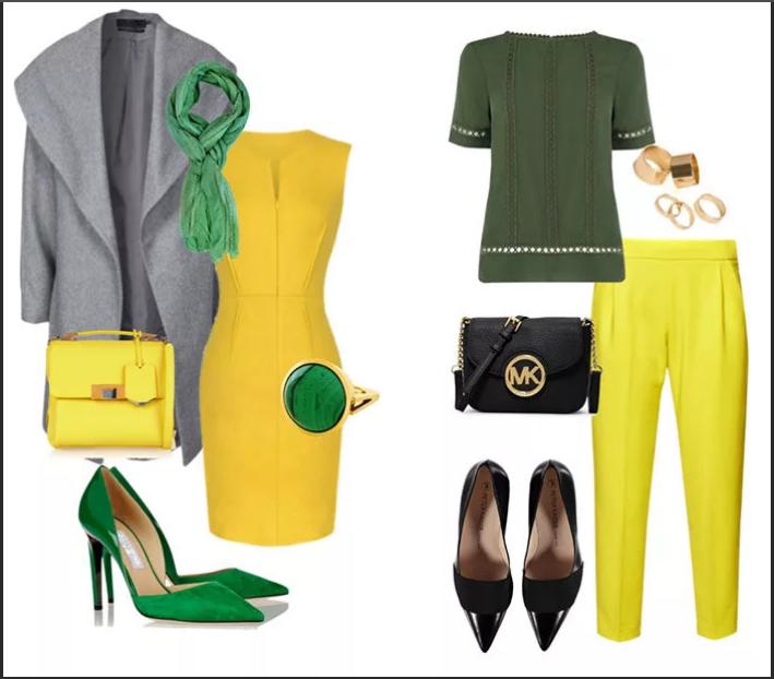 серый желтый и зеленый