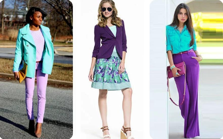 мятный цвет и фиолетовый сочетание в одежде