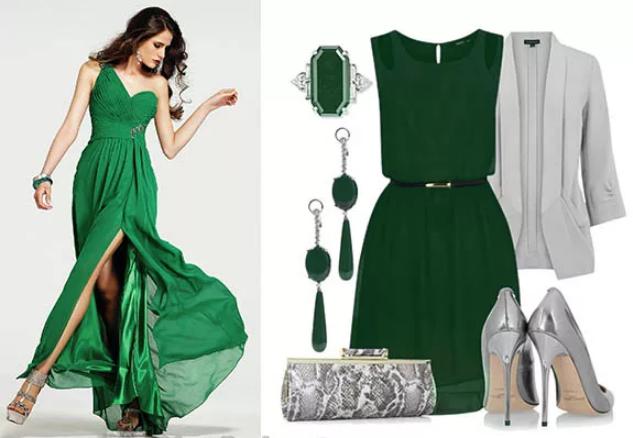 зеленый и серый и украшения