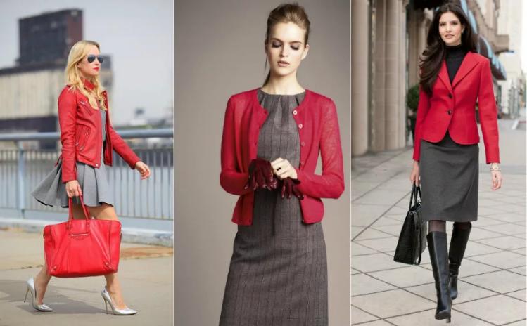 красный и серый в одежде