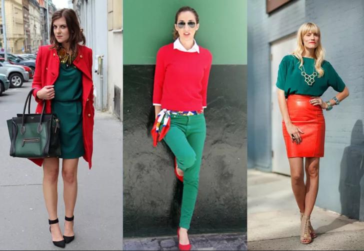 красный и зеленый в одежде