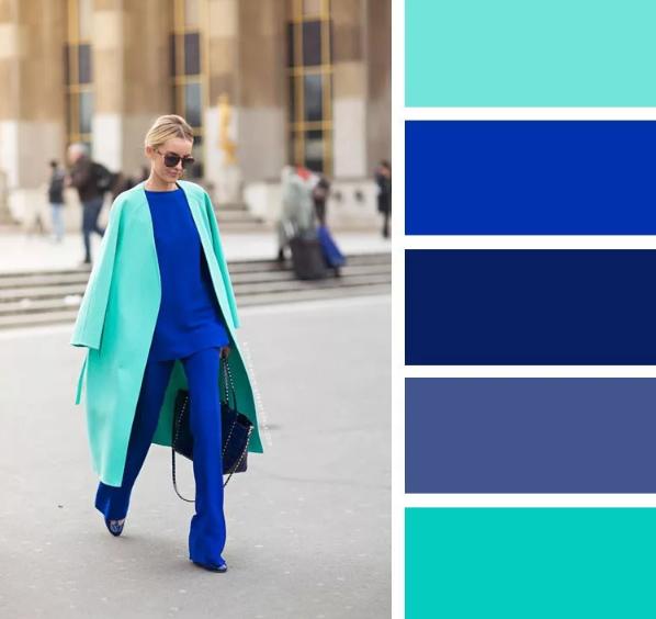 мятный цвет и синий сочетание