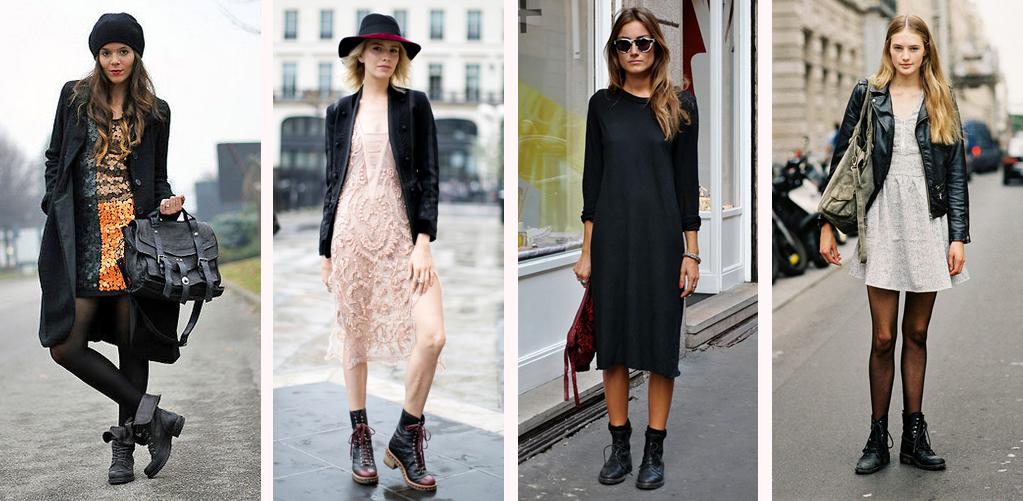 девушки, одетые в платья и ботинки на шнурках