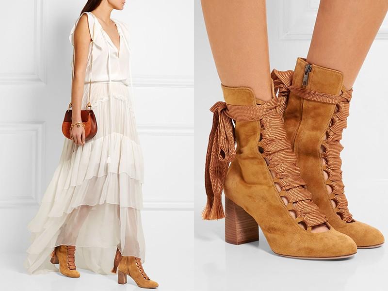 замшевые ботинки на шнурках