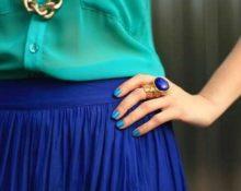 Сочетание голубого и бирюзового в одежде