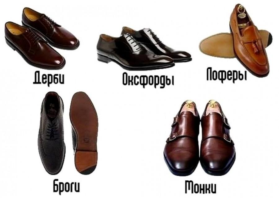 Мужские ботинки: дерби, оксфорды, лоферы, броги, монки
