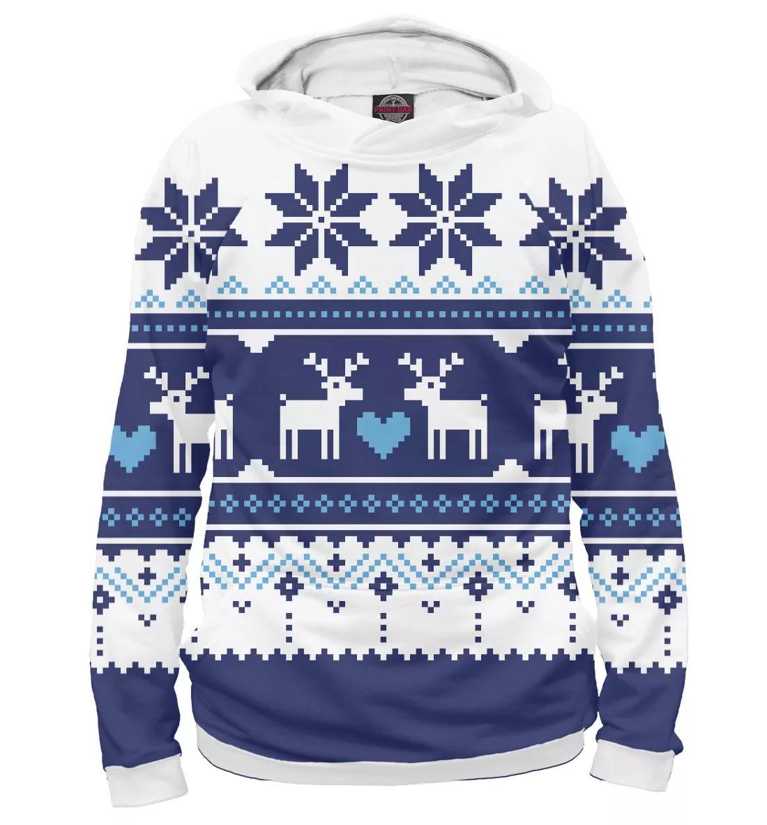 белый с синим свитер