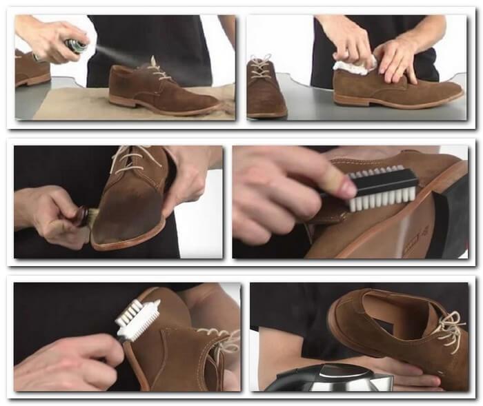 Этапы чистки замшевой обуви