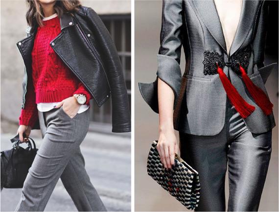 серые брюки с красным