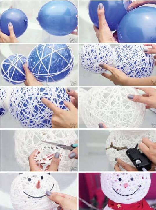 Снеговик своими руками из ниток и шариков