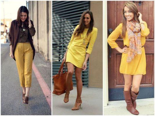 Сочетание с жёлтым цветом в одежде