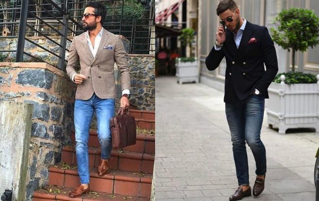 голубые джинсы и пиджак