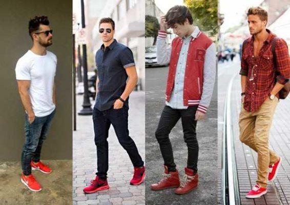 С чем носить красные кеды