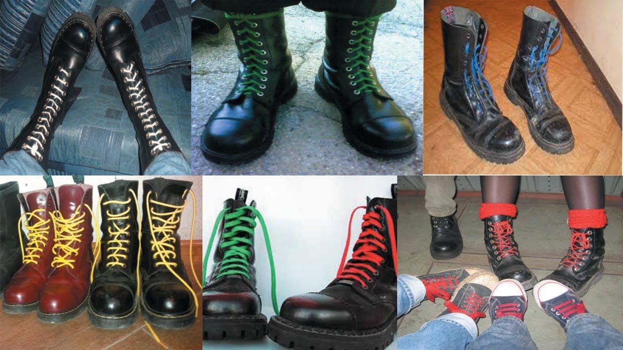 зеленые шнурки на берцах