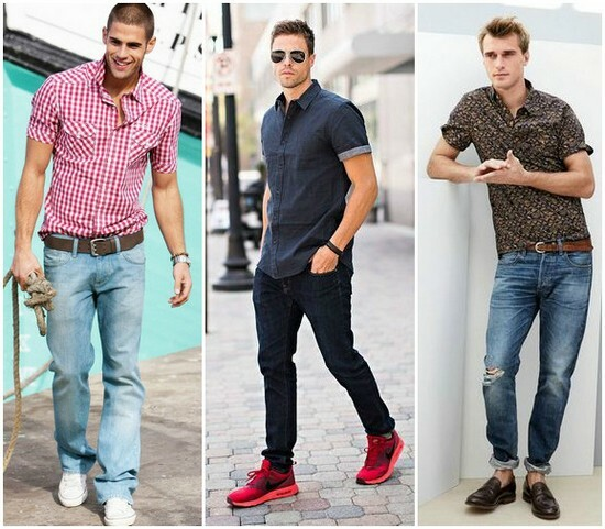 сочетание джинсов и рубашки