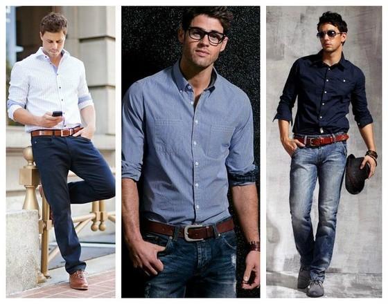 синяя рубашка с джинсами