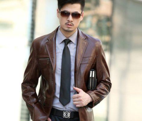 Классический кожаный пиджак