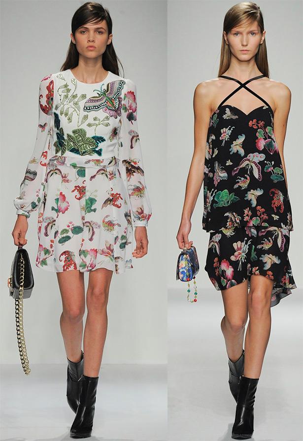 принт Цветы, бабочки в одежде 2020