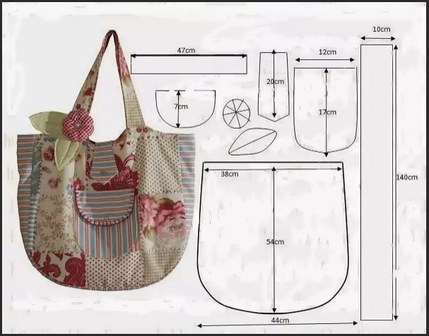 выкройка пляжной сумки