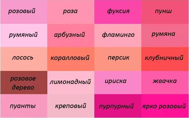 оттенки розового с названиями