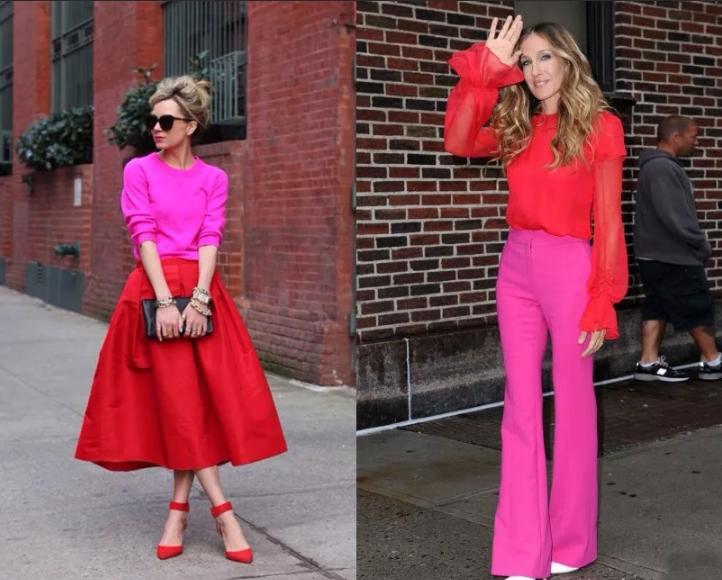 голливудские звезды в красном и розовом