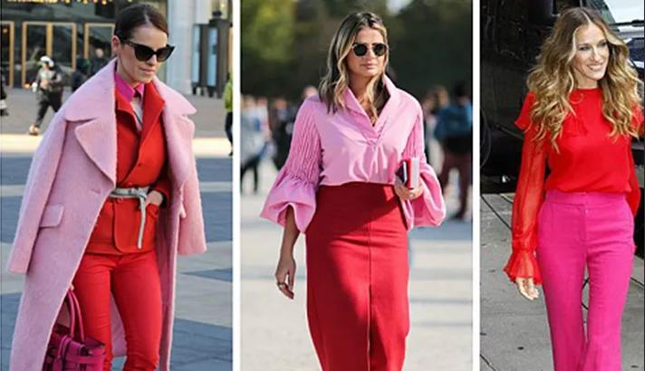 сочетание розового и красного в одежде