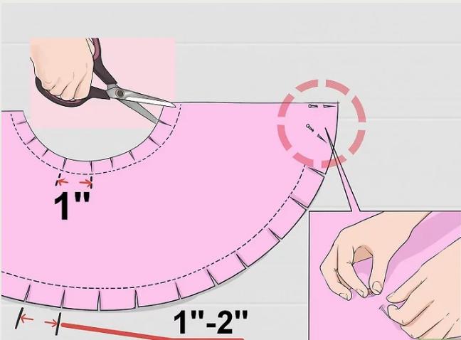 надсечки на женской круглой накидке