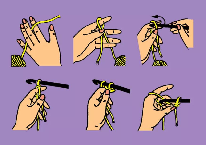 как набирать первые петли крючком
