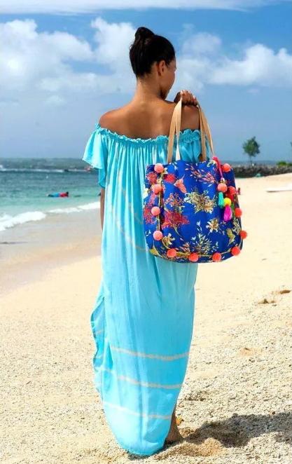 синяя пляжные сумки с декором